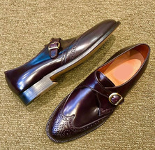 Handmade Men's Maroon Leather Wing Tip Brogues Style Monk Strap Shoes image 3