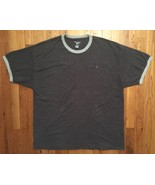 Champion Dark Light Gray Grey Ringer Short Sleeve Tee T-Shirt 2XL XXL - $19.99