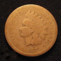 1867 INDIAN HEAD PENNY >> A GOOD BETTER DATE U.S. ONE CENT COIN  N1 - $37.61