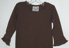 Blanks Boutique Long Sleeve Brown Snap Up Ruffled Romper 12 months image 2