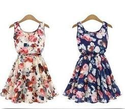 New Clothing  Sleeveless Round Neck Florals Print Pleated Dress Women Summer  20