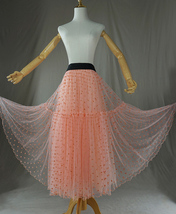 Peach Polka Dot Tulle Skirt Peach Tiered Party Tulle Skirt Holiday Outfit Plus  image 2