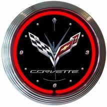 """Corvette C7 Garage Neon Clock 15""""x15"""" - $72.99"""