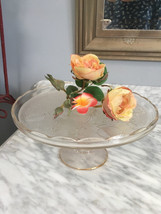 Vintage Jeannette glass Harp pattern footed cake stand  circa 1950 - $18.50