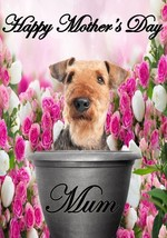 Airedale Terrier pot A5 Mother's Day Greeting Card Mother mom Codepp flowers - $4.26