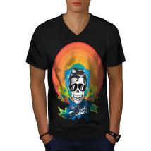 Elvis Skull Shirt Crazy Men V-Neck T-shirt - $12.99+