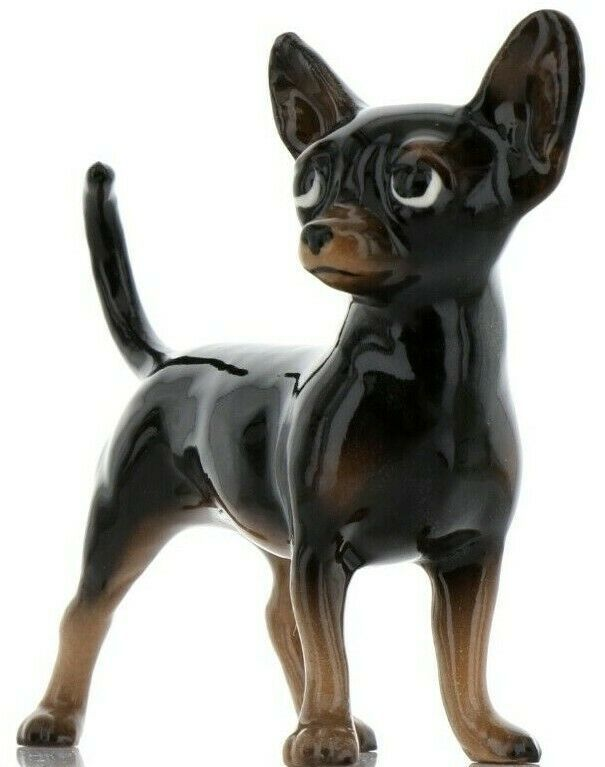 Hagen Renaker Pedigree Dog Chihuahua Large Black and Tan Ceramic Figurine