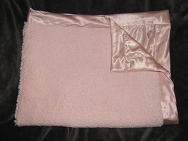 """Little Me pink Furry Shaggy Satin Baby Girl Blanket Lovey 30"""" x 40"""" - $39.59"""