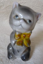 Vintage KITTEN cat figurine  with Yellow & Red Bow Japan marked 3 inches... - $9.50