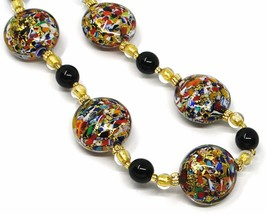 NECKLACE MACULATE MULTI COLOR MURANO GLASS BIG DISCS, GOLD LEAF, ITALY MADE image 2