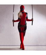 Cool Lady Deadpool Costume Spandex Adult Women Red Fullbody Superhero Co... - £16.14 GBP