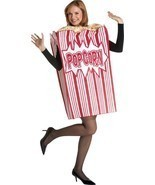 Popcorn Adult Men Women Movie Costume Food Snack Halloween Unique GC7159 - $86.66 CAD