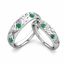 1Ct Round Emerald & Sim Diamond Couple Engagement Ring Set White Tone  - $120.00