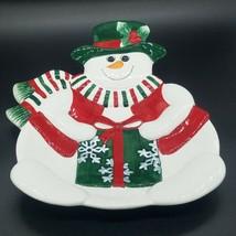 Fitz & Floyd HOLIDAY SNOWMAN 2003 Christmas CANAPE Plate w/ Original Box - $9.74