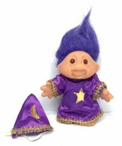 "Vintage 1986 DAM Troll Doll - WIZARD OF THE NORF 5"" - Purple Hair Merlin... - $37.95"