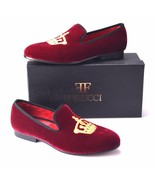 Handmade FERUCCI Burgundy Men Velvet Slippers loafers with Crown davucci - $129.99+