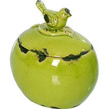 """Bird Lidded Ceramic Jar Green 6.5""""x5""""x7"""" - 66830GREE - $29.69"""