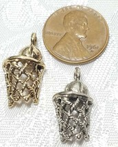 BASKETBALL AND HOOP WITH NET FINE PEWTER PENDANT CHARM image 2