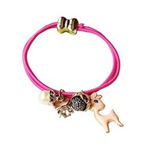 Set of 4 Beads Diamond Flower Deer Hair Rope Ponytail Holders, Rose - $11.03
