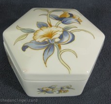 """Aynsley Just Orchids Hexagonal Box with Lid Fine Bone China England 4""""  - $21.99"""