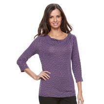 Dana Buchman Womens Purple Top 3/4 Sleeve Draped Neck Career Sz M NWT - $23.75