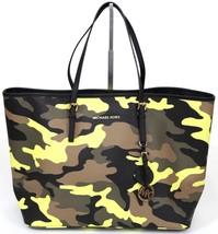 MICHAEL KORS Tote Bag JET SET POPPY ACID Camouflage Printed Bag Yellow G... - $261.25