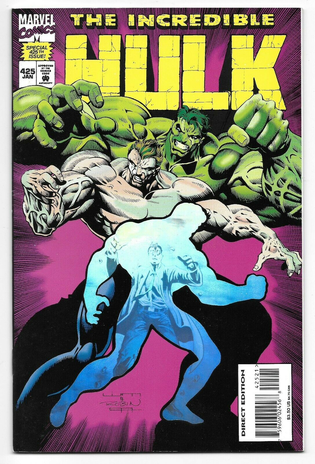 1995 The Incredible Hulk Comic 425 from Marvel Comics Hologram Cover