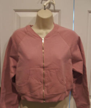 new i pkg frederick's of hollywood zipper front crop sweatshirt MADE IN USA  Med - $12.86