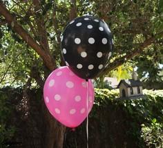 12 Black Pink Polka Dot Latex Balloons LADYBUG MINNIE MICKEY Party Suppl... - $5.99