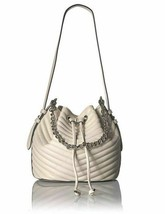 Steve Madden Marge Chevron Quilted Drawstring Bucket Bag, Cream - $45.00