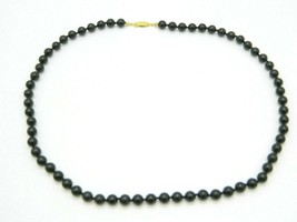 Black Glass Bead Beaded Hand Knotted Long Necklace Vintage - $24.74