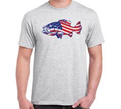 Patriotic Fishing American Flag Bass Men's T SHIRT Grey - €16,95 EUR+
