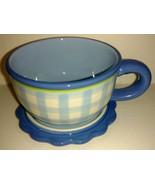 Kimberly Hodges Hallmark Collectible Coffee Cup Mug with Saucer Lid Blue... - $22.76