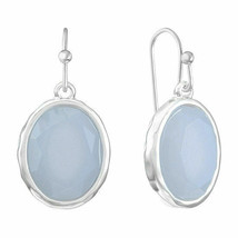 Liz Claiborne Women's Oval Drop Earrings Silver Tone New - $14.84