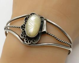 925 Sterling Silver - Vintage Navajo Opal Gemstone Cuff Bracelet - B2346 - $55.98