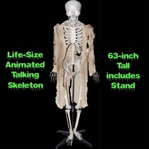 Standing Life Size ANIMATED TALKING HUMAN SKELETON Halloween Haunted Hou... - $98.97