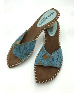 Paloma Barcelo UK 39 US 8.5 Aqua Tan Hair Stitched Espadrille Heels Shoes - $26.99