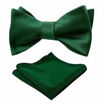 Alizeal Men's Solid Self-tied Bow Tie and Handkerchief Set, Dark Green