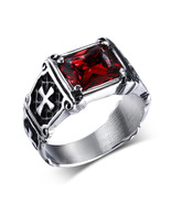 Mprainbow Vintage Mens Rings Stainless Steel Red Large Crystal Dragon Cl... - $14.87