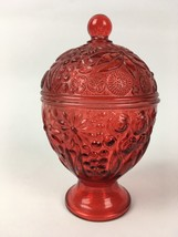 VTG Avon Ruby Red Glass Berry Flowers Covered Candy Dish Sugar Bowl w Lid - $6.53