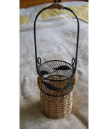 Single Wire Wine Bottle Basket Wicker and Wire with Sunflowers and leaves - $16.82