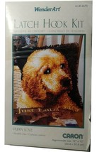"New Caron WonderArt Latch Hook Rug Kit Lab PUPPY LOVE Dog Yarn 12"" 4670 - $15.51"