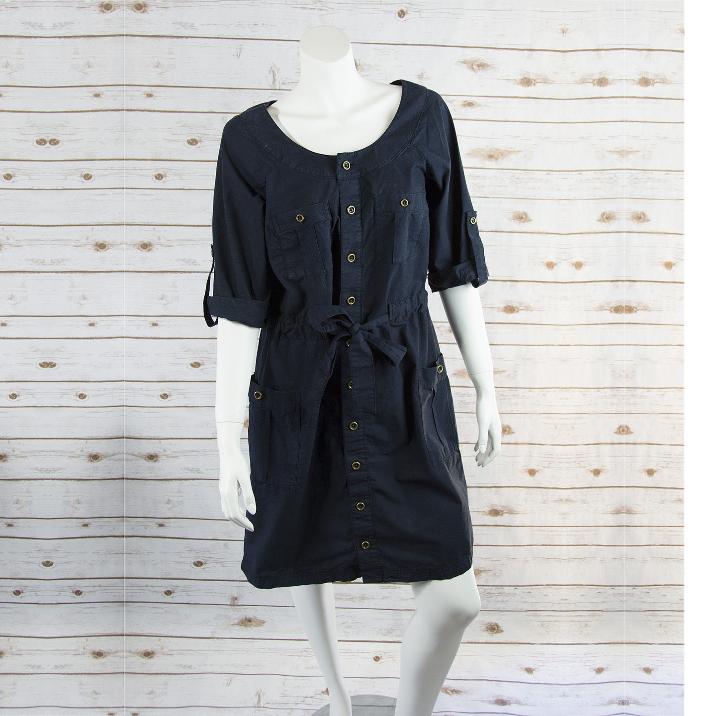 ANN TAYLOR LOFT sz M womens roll up sleeves dark blue shirt dress EUC (DA06)