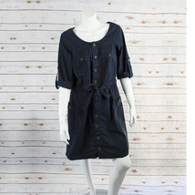 ANN TAYLOR LOFT sz M womens roll up sleeves dark blue shirt dress EUC (D... - $11.88