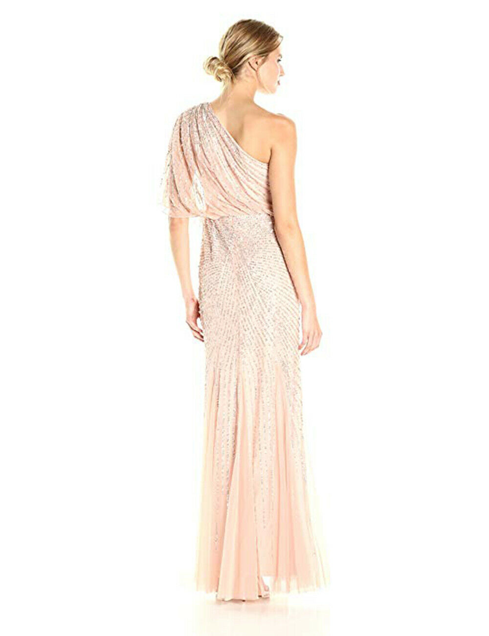 Adrianna Papell One Shoulder Sequin Beaded Blouson Gown, Blush, 20W