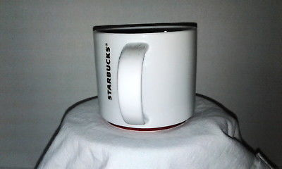 2012 Starbucks 16 oz Stackable Coffee Mug Tea Cup Gold Letters Red Trim