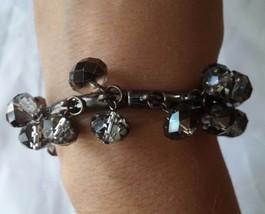 Black and Silver Beaded Dangle Stretch Bracelet women's fashion jewelry - $3.99