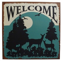 Welcome Nature Calls Wildlife the Great Outdoors Distressed Metal Sign - $12.00
