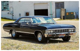 1967 Chevrolet Impala black in field | 24 x 36 INCH Poster| sports car - $18.99