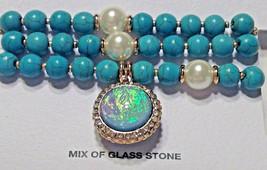 Bracelet Beaded Turquoise Blue Glass & Stone Beads 3 Strand - $10.84